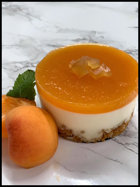 Fresh Apricot & Ginger Cheesecakes with Crunchy Macadamia & Ginger Nut Base