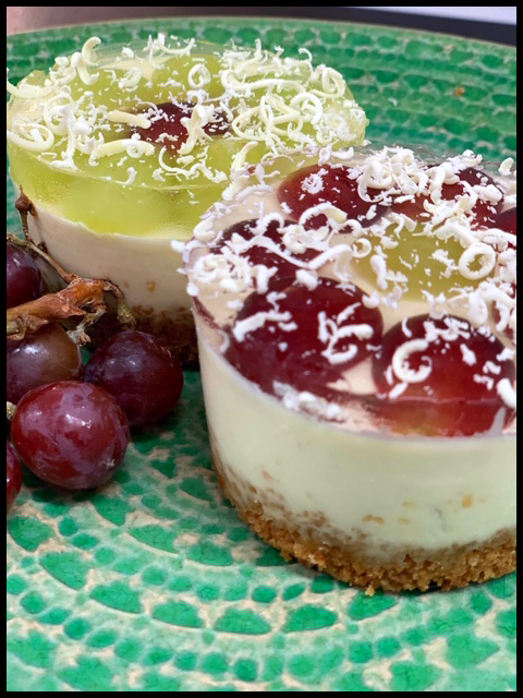 Prosecco & Mixed Grape with White Chocolate Cheesecakes