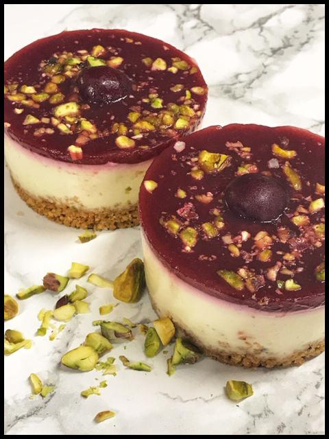 Fresh Cherry & Pistachio Cheesecakes