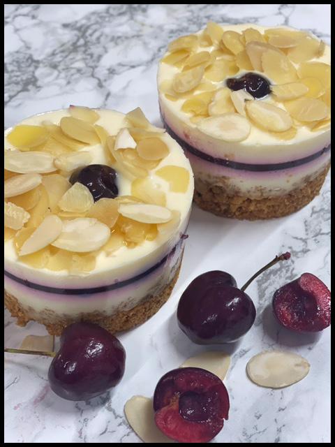 Cherry Bakewell Cheesecakes