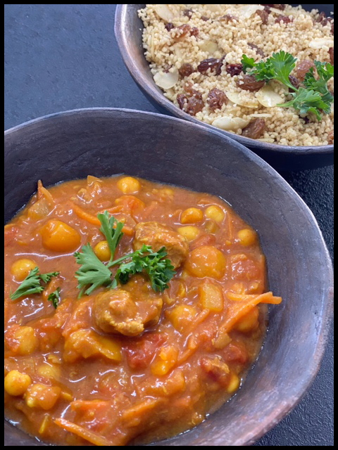 Slow Cooked Moroccan Lamb Tagine on Moroccan Couscous