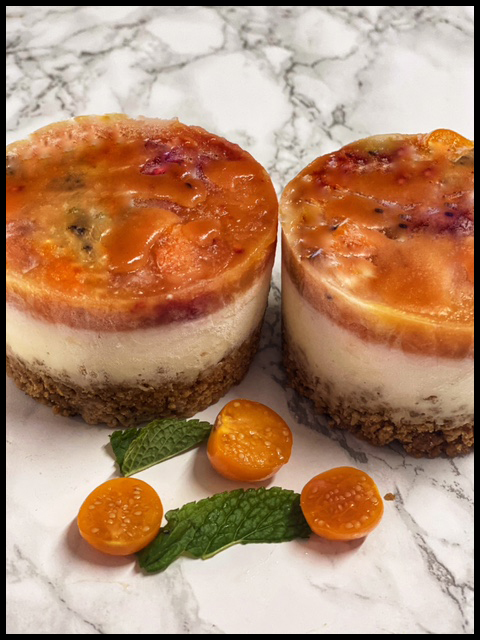 Tropical Fruit Salad Cheesecakes