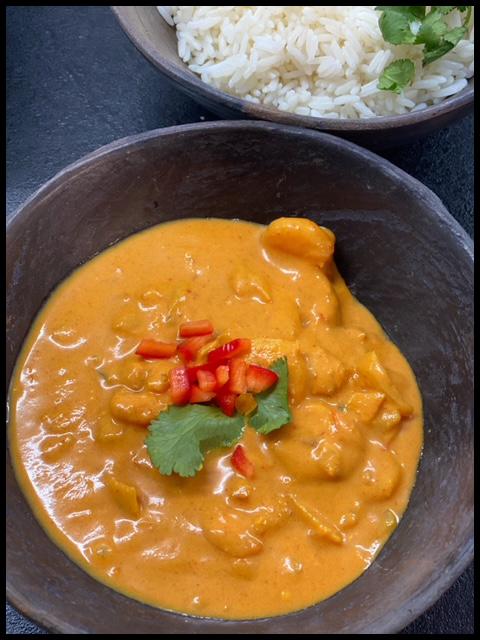 Kashmiri Prawn Curry on Rice