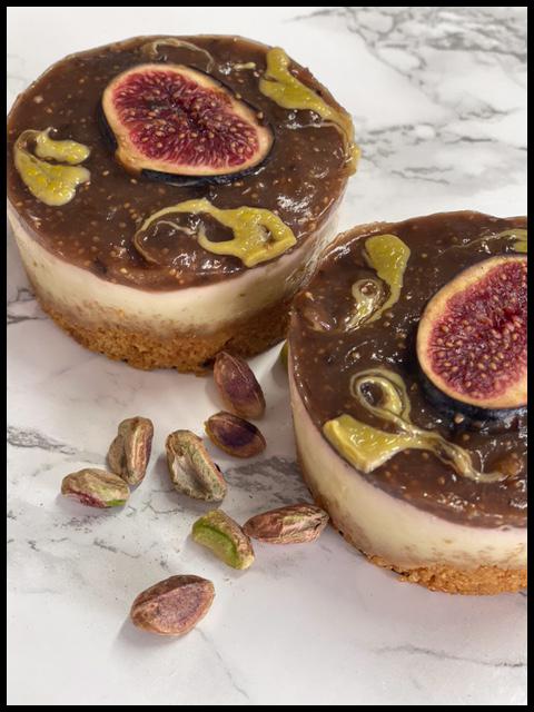 Fresh Fig & Pistachio Cheesecakes